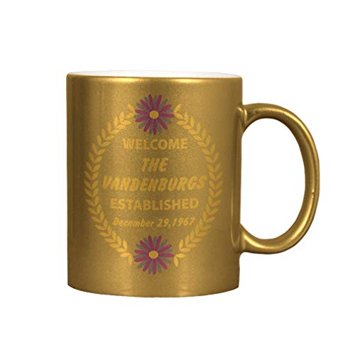 Personalized Custom Text Home Address Welcome Family Flower Wreath Ceramic Coffee Cup Metallic Mug - Gold