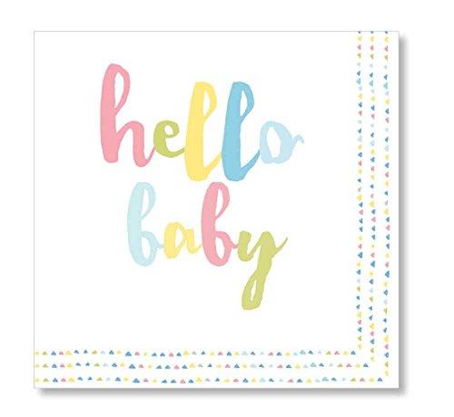 C.R. Gibson Hello Baby Gender Neutral Baby Shower Beverage Napkins, 20 ct, 5'' x 5'']()