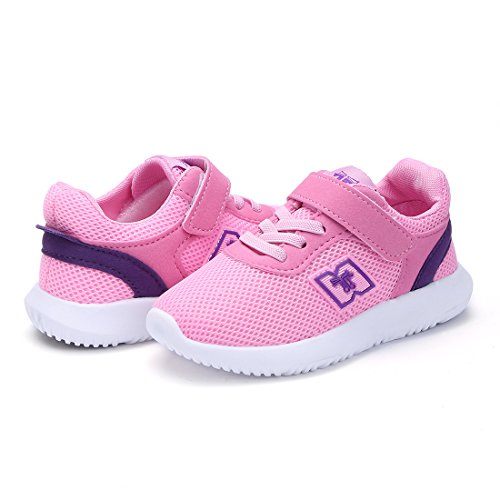 BTDREAM Boy and Girl's Breathable Fashion Sneakers Athletic Outdoor Sports Running Shoes Pink Size 26 by BTDREAM (Image #7)