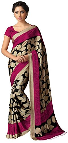ner Beige Italian Crepe Printed Saree with Blouse ()