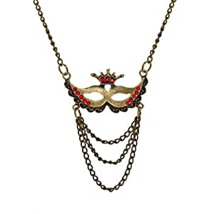 Red Stone Masquerade Charm Necklace