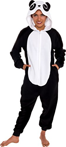 Silver Lilly Slim Fit Animal Pajamas - Adult One Piece Cosplay Panda Costume (Black/White, Medium)