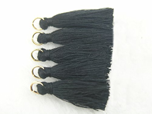 50pcs Black Silky Handmade Tiny(1.4'') Soft Tassels with Golden Jump Rings, Mini Tassels Earring (Handmade Tassels)