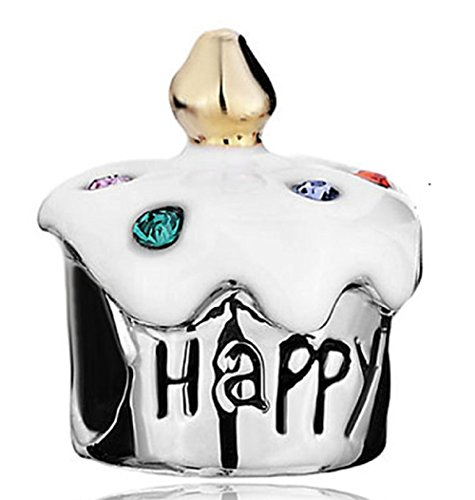 Q&Locket Happy Birthday Cake Enamel Charms Bead Fit Charms Bracelet (White ()