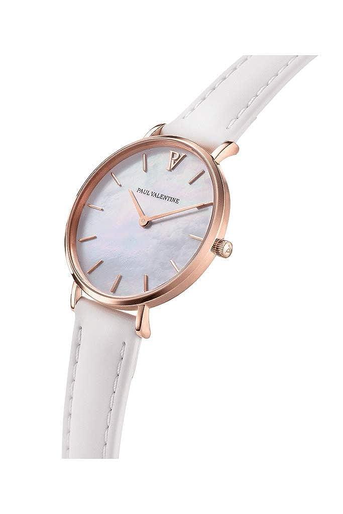 Paul Valentine - Reloj de Pulsera para Mujer (32 mm), Color Dorado y Blanco: Amazon.es: Relojes