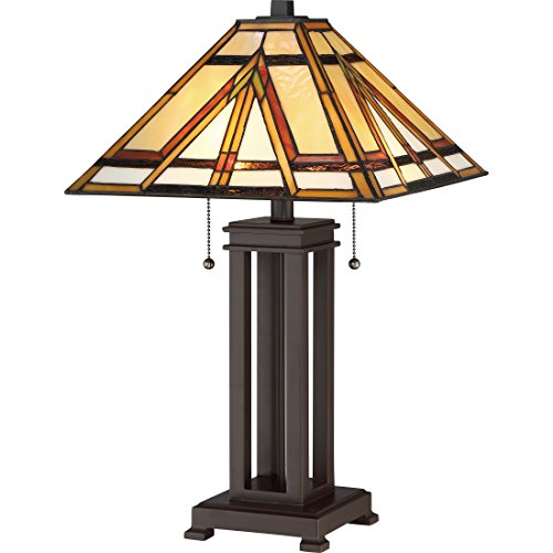 Quoizel TF2095TRS Gibbons Tiffany Table Lamp, 2-Light, 150 Watts, Russet (23