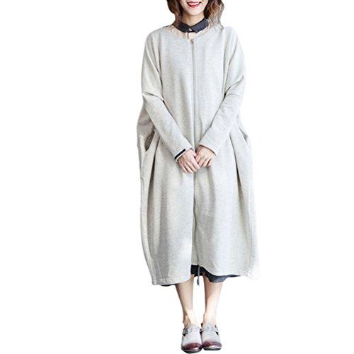 Zhuhaitf Ladies Boyfriend Style Oversized 快適な Outerwear Long Large Cardigans Zippered Coat ボーイフレンドスタイル