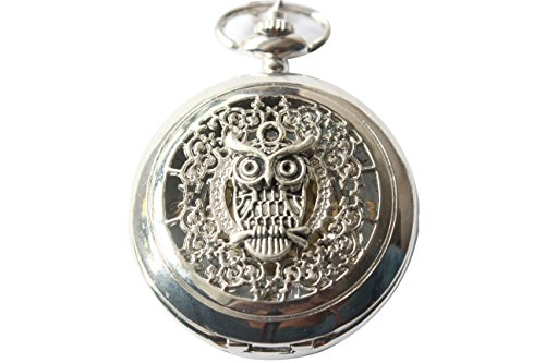 Ancient Silver Owl Pocket Watch Pendant Necklace with Chain Jewelry S from Unknown