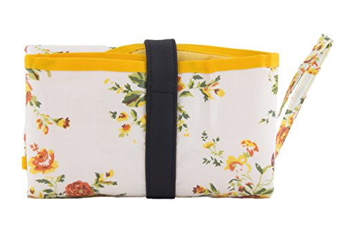 Kupu bolsa de cambiar pañales, estilo de embrague para on-the-Go cambios, para cambio de pañales bolsa, portátil bolso de compras con compacto plegable Kit de cambio y organizador con forro impermeabl Yellow Roses