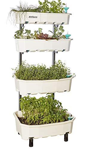 (Altifarm Home Farm; Vertical Raised Elevated Garden Self-watering Planter Kit For Indoor & Outdoor Gardening (4 Tier, White) - Premium All-season Grow System)