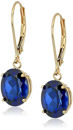 14K Gold Oval Gemstone Dangle Leverback Earrings ()
