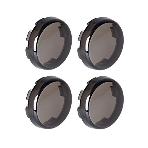 NTHREEAUTO Smoke Bullet Turn Signal Light Lens Cover Compatible with Harley Sportster Street Glide Road King Softail, Qty 4 ()