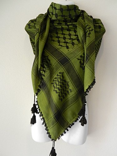 Dk Green Olive Black Embroided Arab Shemagh Head Scarf Neck Wrap Cottton Unisex