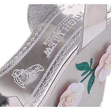 LvYuan Mujer Sandalias Confort PU Verano Casual Paseo Confort Flor Tacón Bajo Plata Gris 7'5 - 9'5 cms gray