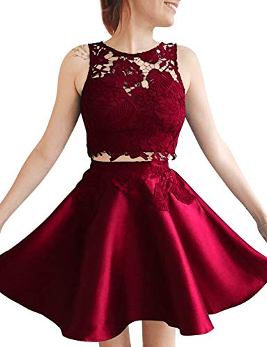 Prom Lace Pieces Dress Bridal Burgundy Homecoming Women's Short Two Bess Party Skater xqwA1YE4R