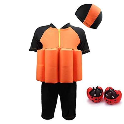 Flotation Swimwear (Kid's Swimsuit Sun Protection Flotation Swimwear With Swimming Cap and Armband)
