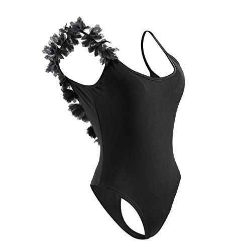 Tinksky Un pezzo nuotata vestito costumi da bagno fiore Backless costume da bagno per donne Gilrs taglia M (nero)
