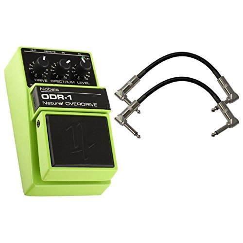 Nobels ODR-1 Classic Overdrive Guitar Effect Pedal with Flexible Spectrum Control BUNDLE with 2 Patch Cables (Best Overdrive Pedal For Humbuckers)
