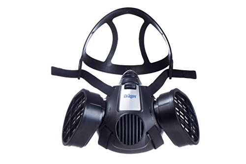Dräger X-plore 3500 Half-Face Respirator Mask + 2x Multi-Gas Cartridge (OV/AG/HF/FM/CD/AM/MA/HS) | Reusable Professional Respiratory Protection Kit | NIOSH-Certified ()