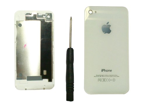 [NEW OEM White Apple Iphone 4 Replacement Glass White Battery Cover , Battery Door, Rear Panel + 5 Star Screwdriver & Iphone 4 GSM, AT&T, T-Mobile] (Gsm Battery Door)