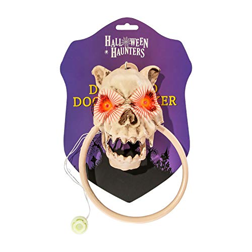 Halloween Haunters Animated Dog Skull Head Barking Front Door Knocker Prop Decoration - Evil Red Eyes Light Up As Dog Barks Viciously - Haunted House Graveyard Entryway -