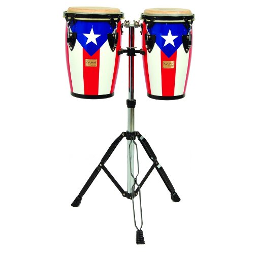 Tycoon Percussion 8 Inch & 9 Inch Junior Congas With Double Stand - Puerto Rican Flag Finish