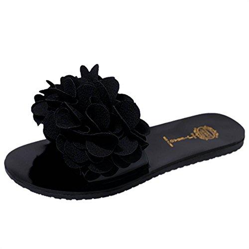 Hunpta Frauen Sommer Blume Flat Flip Flops Slip resistent Sandalen Hausschuhe Schuhe Schwarz