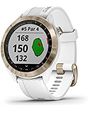 Garmin Approach S40, Stylish GPS Golf Smartwatch, Lightweight with Touchscreen Display, (010-02140-02), Light gold with white band