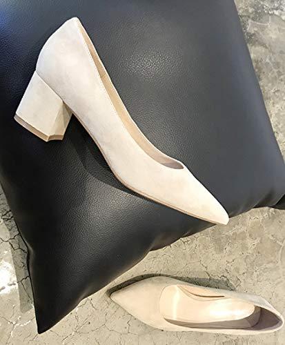 Las con Zapatos de de Color Tacones los Punta Mujeres de de pies Gamuza Punta Bloque Alto 431 tacón sólido de BUCqrnB0