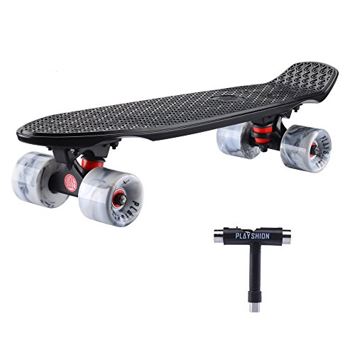 Playshion Fiberglass Deck 22 inch Mini Cruiser Skateboard Complete For Beginner (Skate Tool Included)