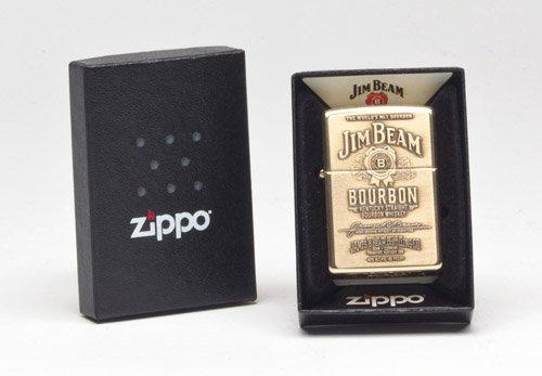 Zippo 254BJB.929 High Polish Brass Jim Beam Brass Emblem Lighter ()