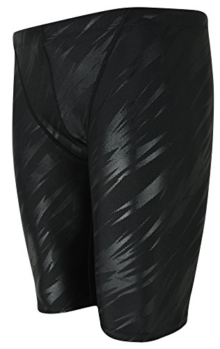 Vocni Men's Swim Trunk Quick Dry Rapid Swim Splice Square Solid Jammer Swim Suit - Black US XL (Waist:39
