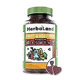 Vegan Fruit, Veg and Fiber Supplement for Kids by Herbaland - Plant-Based Sugar-Free Vitamin Gummies High in Fiber - Fuits and Vegetables Blend - Black Currant Flavor - 60 Gummies