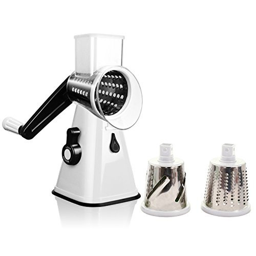 Rotary Cheese Grater, Afantti Rotary Cheese Shredder Grater Salad Shooter Round Mandoline Slicer Vegetable Cutter - 3 Drum Blades Mandolin Slicer Professional for Kitchen Sweet Potato Veggie Food
