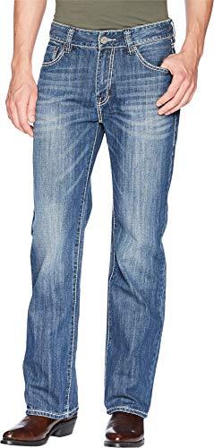 (Rock & Roll Denim Men's and Double Barrel Medium Wash Cream Embroidered Jeans Indigo 40W x 34L)