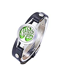 HOUSWEETY Essential Oil Diffuser Locket Bracelet Stainless Steel Aromatherapy Bracelets 12 Color Pads
