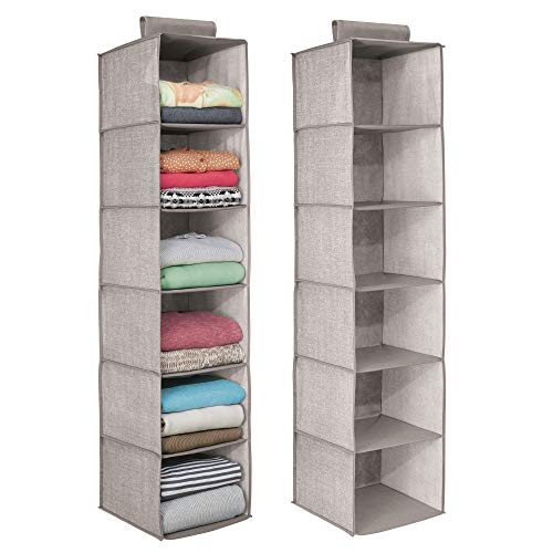 1 · MDesign Long Soft Fabric Over Closet Rod Hanging Storage Organizer With  6 Shelves For Clothes,