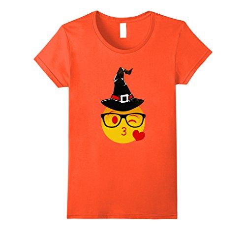 Womens Nerd Emoji Witch Hat Halloween T-Shirt | Original Distressed XL Orange