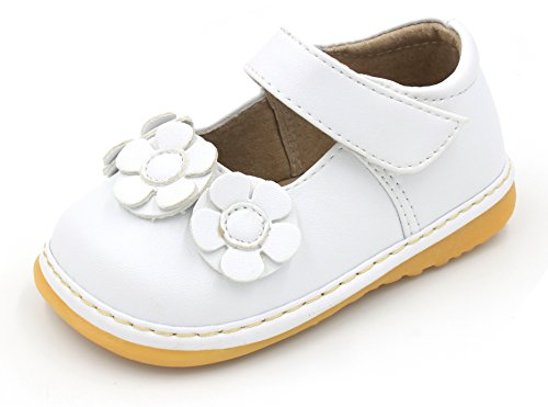 (Little Mae's Boutique Squeaky Shoes | White Three Flower Mary Jane Toddler Girl Shoes (9))