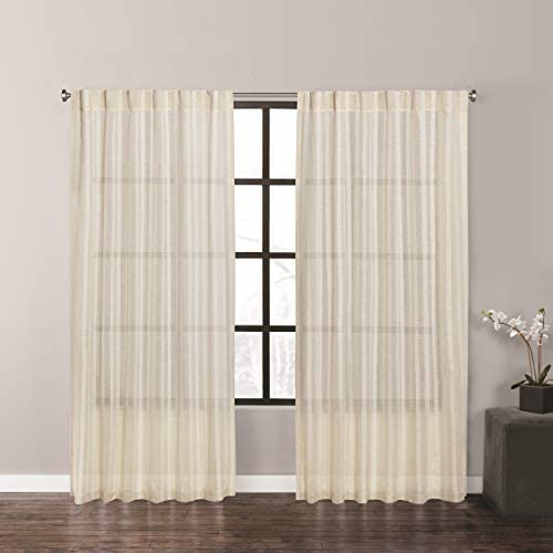 Vera Wang Fil Coupe Stripe Window Panel Pair, 96 Inches, Beige
