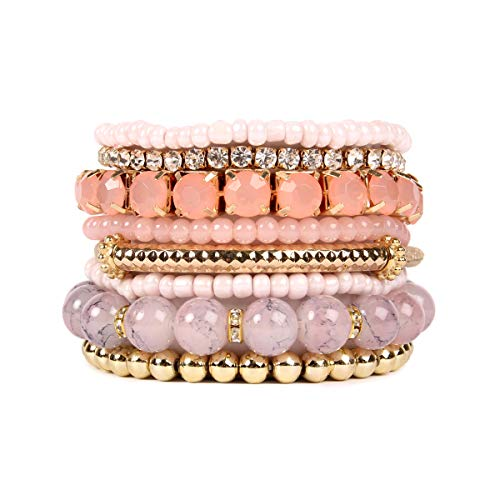 RIAH FASHION Multi Color Stretch Beaded Stackable Bracelets - Layering Bead Strand Statement Bangles ([S-M] Pink)