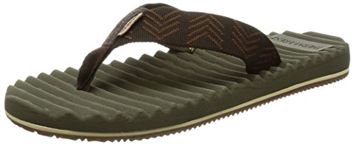 Mens Rugged Casual Sandal (Freewaters Men's Treeline Therm-a-Rest Flip Flop Sandal, Brown/Olive, 11 M US)