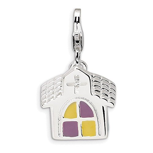 Jewelry Adviser Sterling Silver 3-D Enameled Church w/Lobster Clasp Charm by Jewelry Adviser