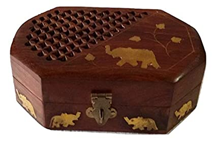 KAD Handmade Wooden Box for Women Organizer with Elephant Decor