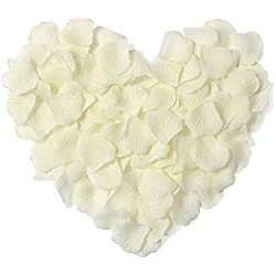 Younglove 1000 Pcs Silk Artificial Rose Petals Wedding Party Home Decorations, Ivory