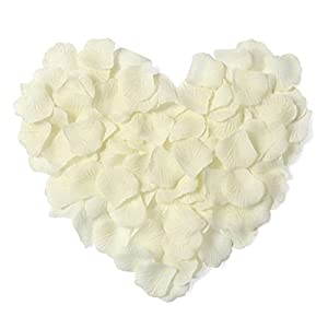 Younglove 1000 Pcs Silk Artificial Rose Petals Wedding Party Home Decorations, Ivory 2