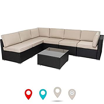 walsunny 7 pcs Outdoor Black Rattan Sectional Sofa- Patio Wicker Furniture Set Conversation Sets with Tea Table Washable Couch Cushions Khaki Khaki