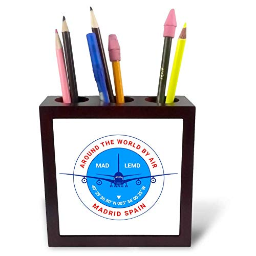 3dRose Alexis Design - Around The World by Air - Round Badge, a Blue Airliner. Red Text Madrid Spain, Coordinates - 5 inch Tile Pen Holder (ph_304579_1)
