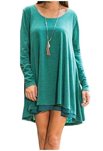 Manches Longues Femmes Coolred Haute Faible Taille Plus Épissures Ourlet Mini-vert Robe
