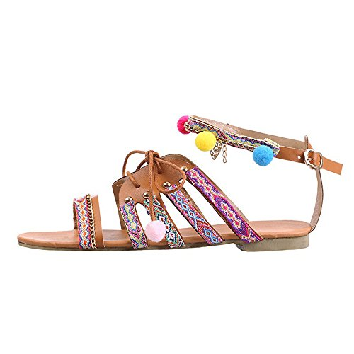 WINWINTOM Bohemia Sandals Gladiator Leather Sandals Flats Shoes Pom-Pom Sandals, Women Bohemia Sandals Gladiator Leather Sandals Flats Shoes Pom-Pom Sandals Multicolor